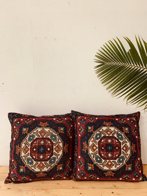 Multicolored Crewal Floor Cushion Cover 60x60cm