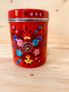 Hand Painted Canister - Red