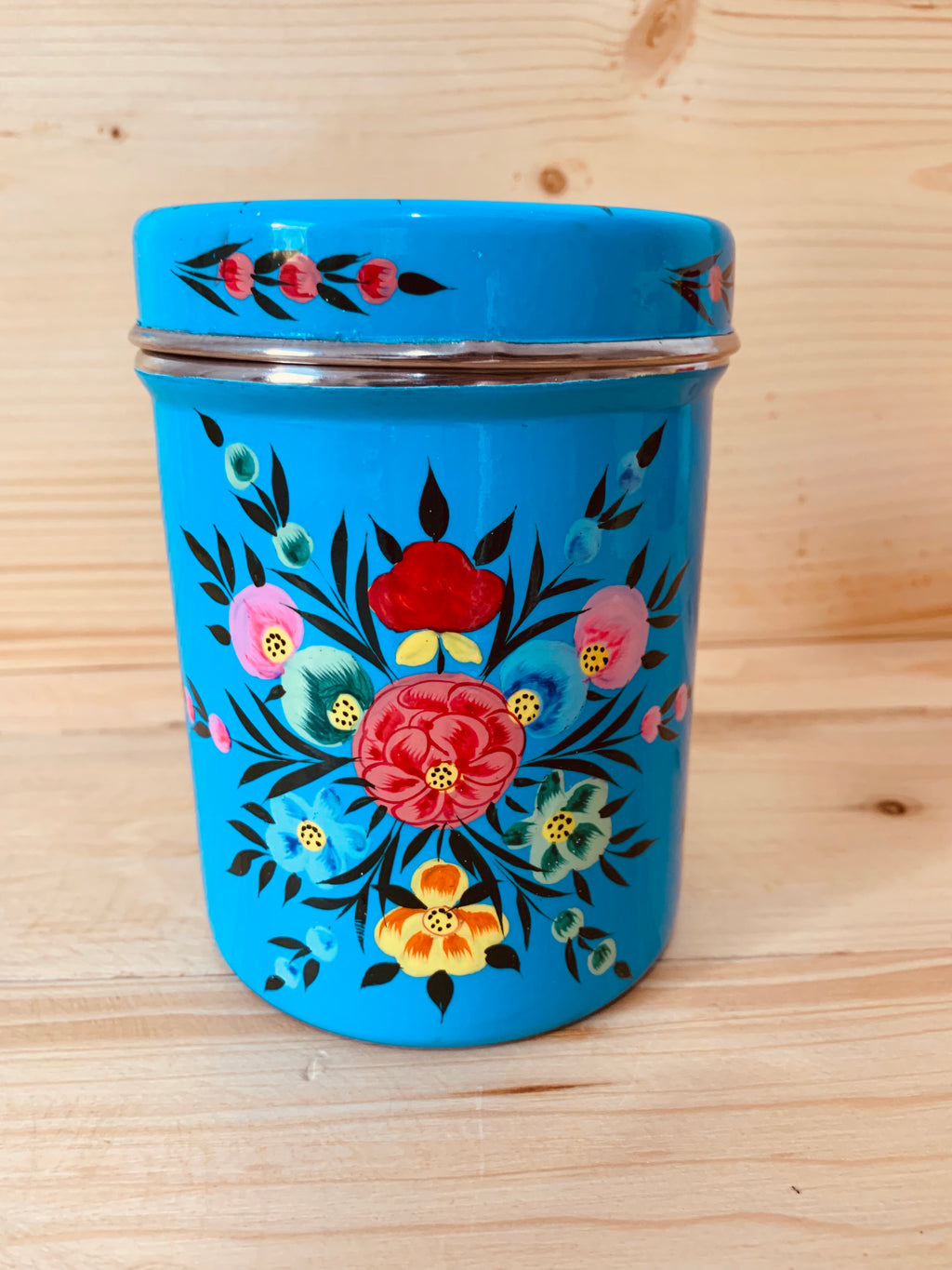 Hand Painted Stainless Steel Canister