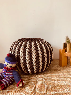 Coffee Ivory Hand knitted Pouffe