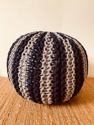 Grey Blue Hand knitted Pouffe