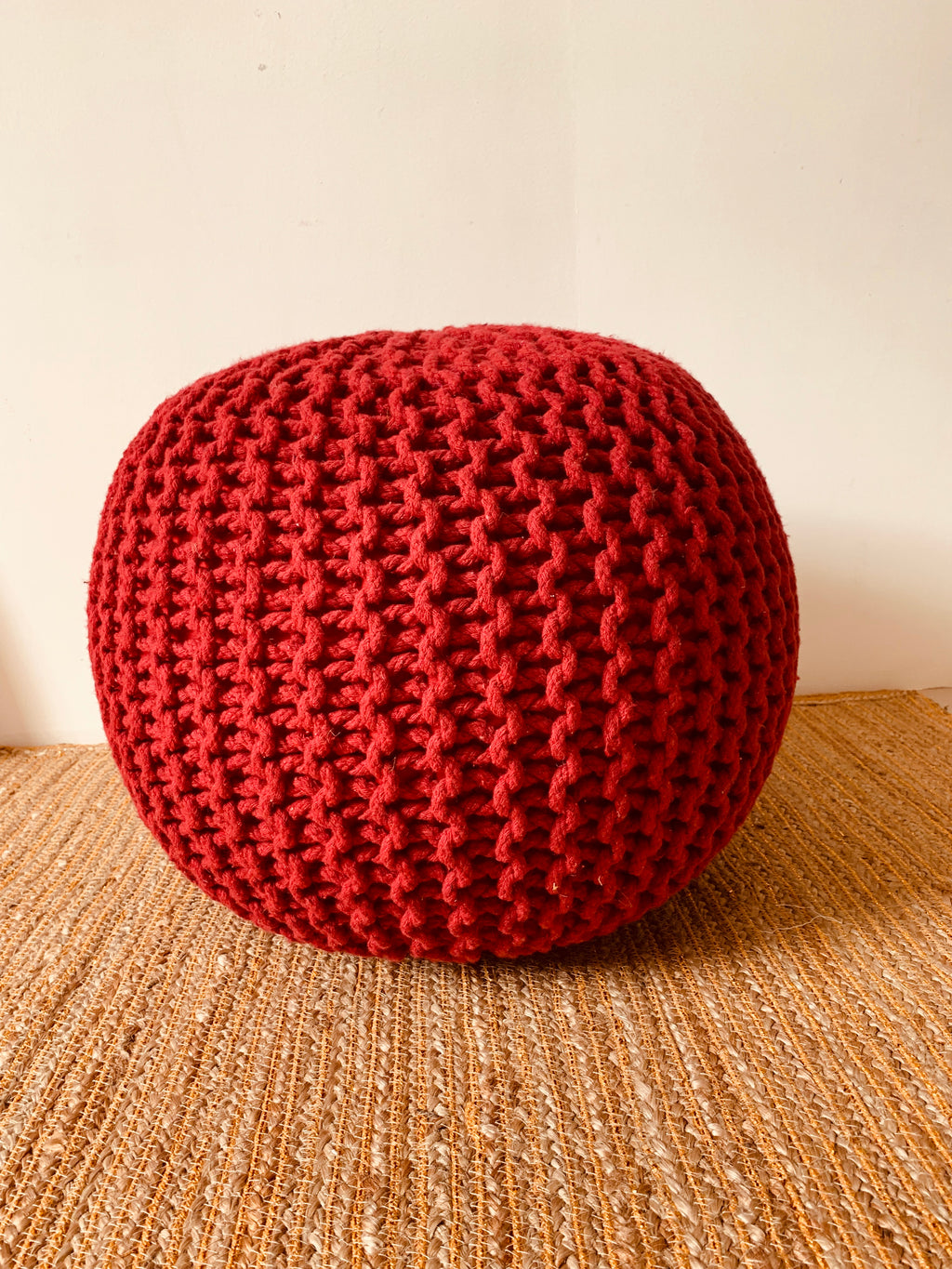 Red Hand knitted Pouffe