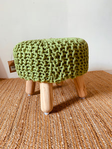 Green Round hand knitted stool