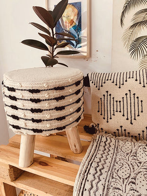 Ecru with textured black highlight textured Moroccon stool