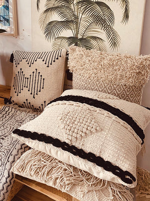 Diamond design with black stripes cushion cover  45*45