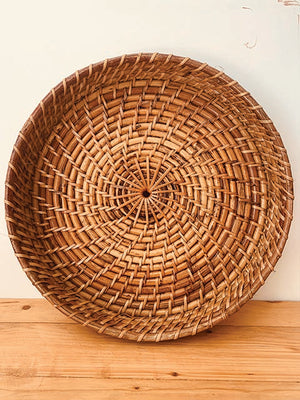 Cane rattan tray large