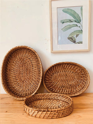 Oval Cane rattan tray Large