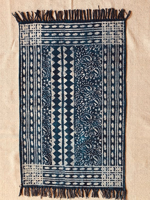 Multi motif stripe with border print Indigo Cotton rug 2x3 ft/60*90 cm