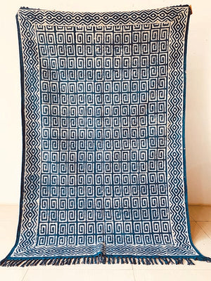 Geometric with border print indigo Cotton rug 4x6 ft/120*180 cm