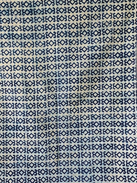 Tribal motif print indigo Cotton rug 4x6 ft/120*180 cm
