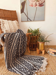 Braid pattern throw in black with tassels