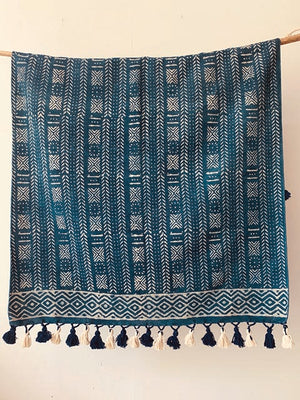 Geometric stripe print with border pompom, indigo rug 4x6 ft/120*180 cm
