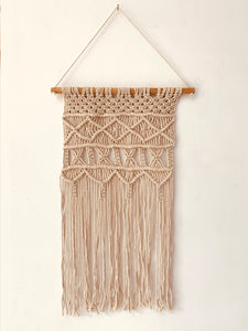 Macrame Wall Hanging Decor Geometric Pattern With Dowel