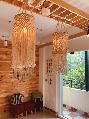Macrame Bohemian Hanging Cylinderical Lamp