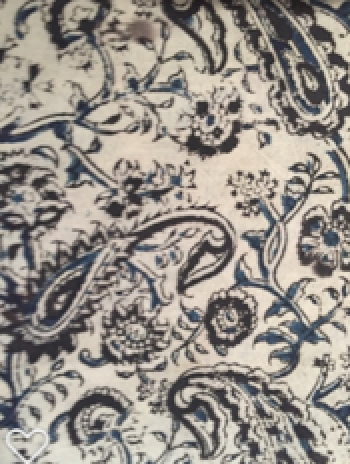 Hand block Fabric - black blue Kalamkari print