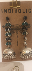 German Silver Long Jhumka - Antique Oxidised