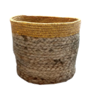 Handwoven Gold Border Jute Planter