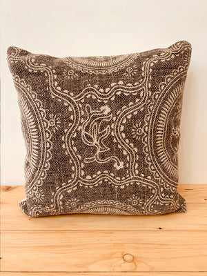 Brown hand block printed cushion cover 45 X 45
