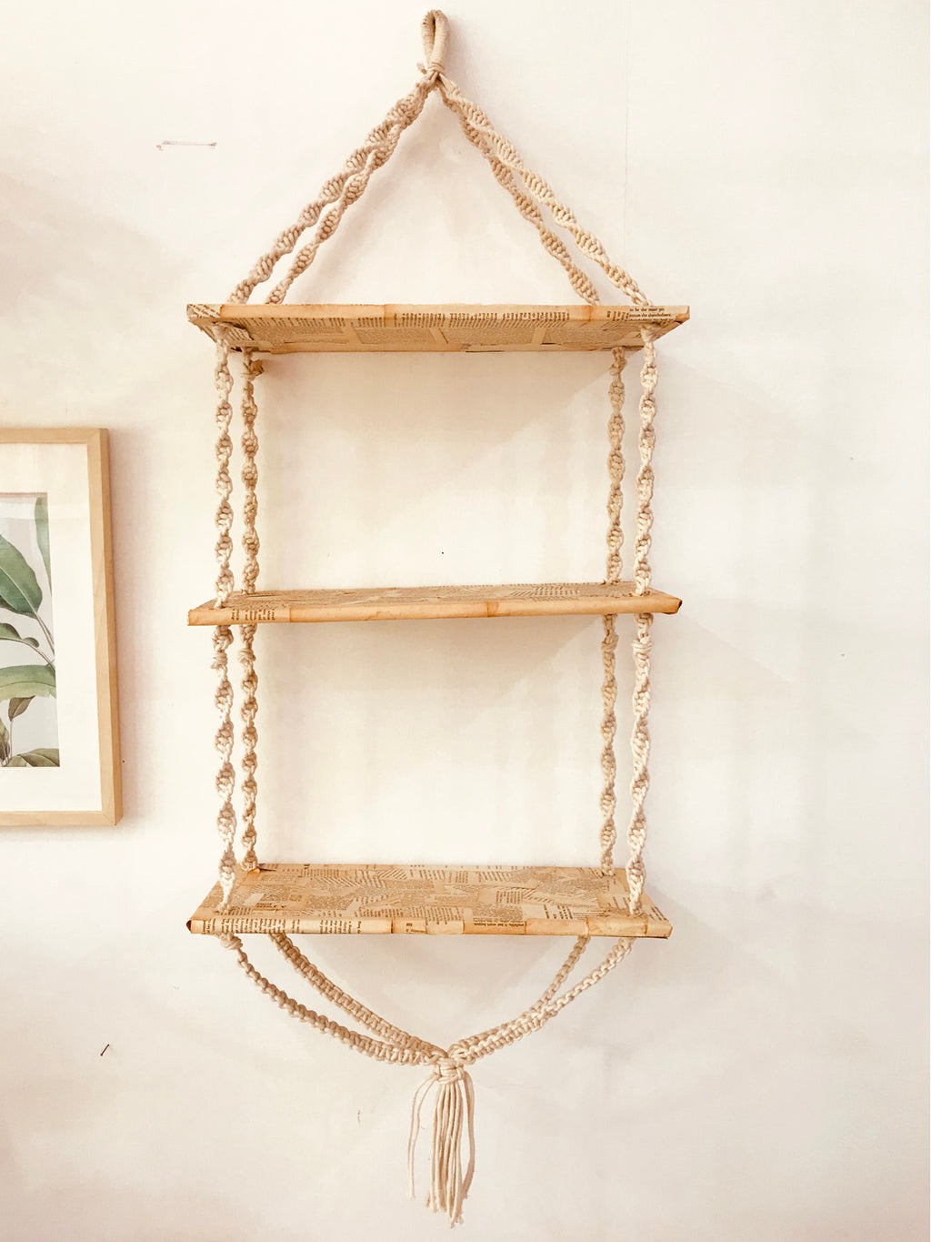 Macrame wall shelves