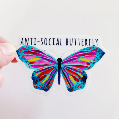 Antisocial Butterfly Sticker Decal