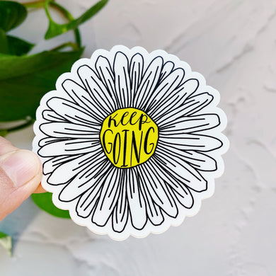 Keep Going Daisy Flower Sticker Decal