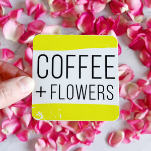 Coffee Plus Flowers Yellow Sticker Decal