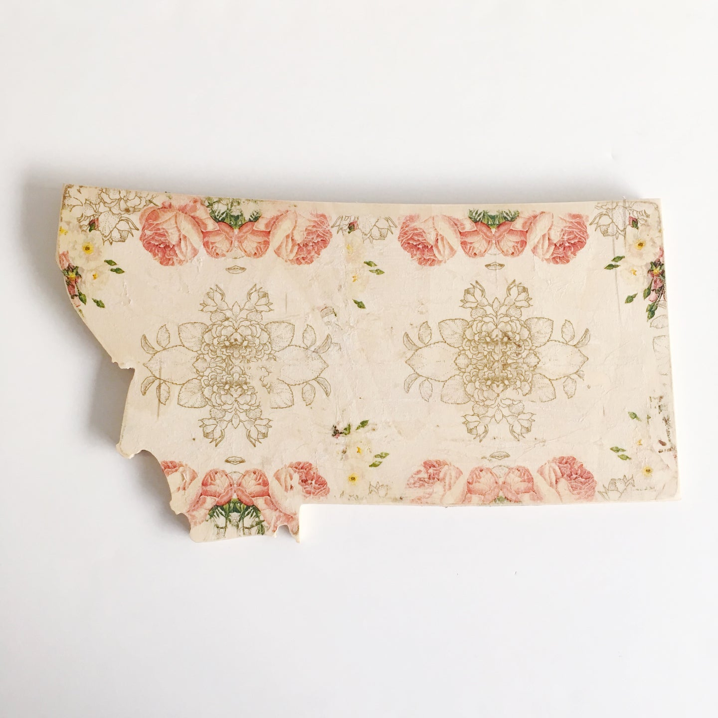Wood Sign - Montana - Cream Floral