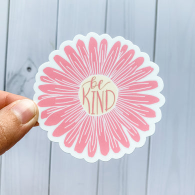 Be Kind Pink Daisy Flower Sticker Decal