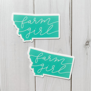 Montana State Farm Girl Mint Green Decal Sticker
