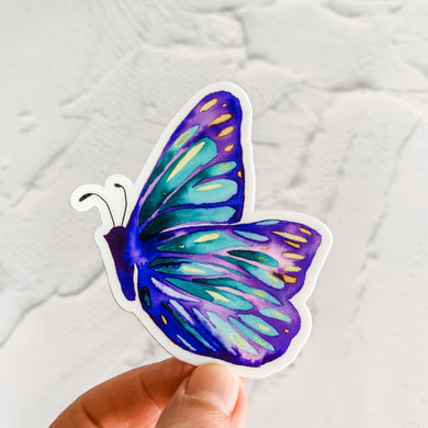 Watercolor Side Butterfly Purple Sticker Decal