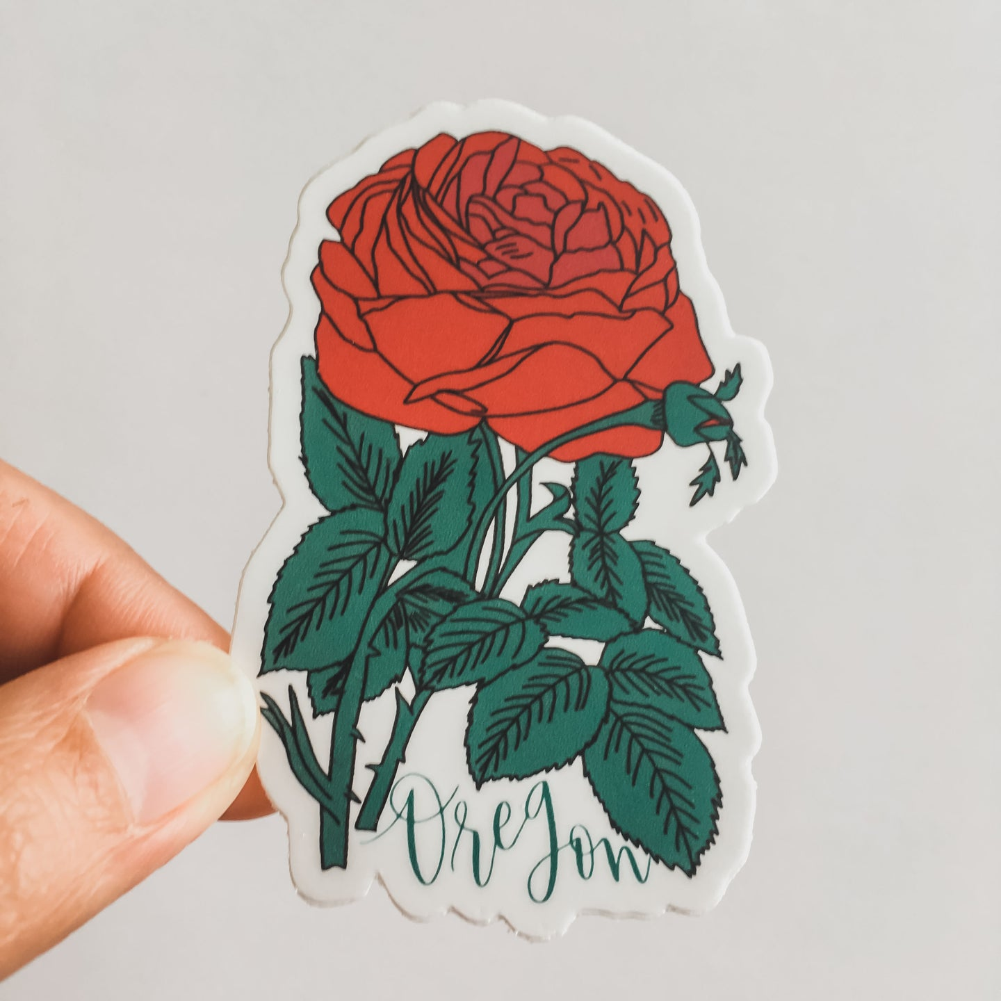 Oregon Red Rose Flower State Sticker Decal