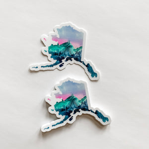 Alaska State Mountains Sticker Decal