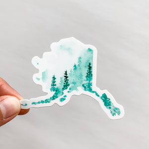 Alaska State Forest Green Sticker Decal