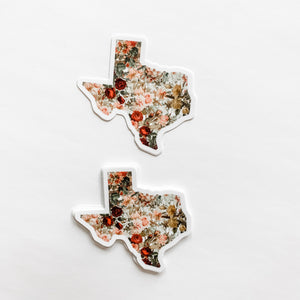 Texas State Vintage Floral Sticker Decal