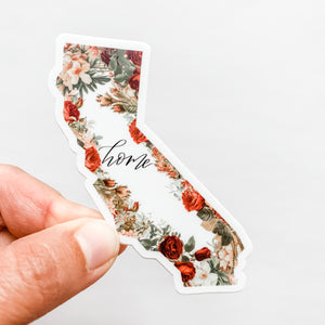 California State Home Floral Sticker Decal