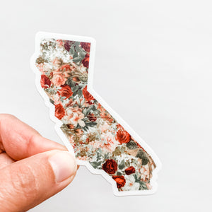 California State Vintage Floral Sticker Decal