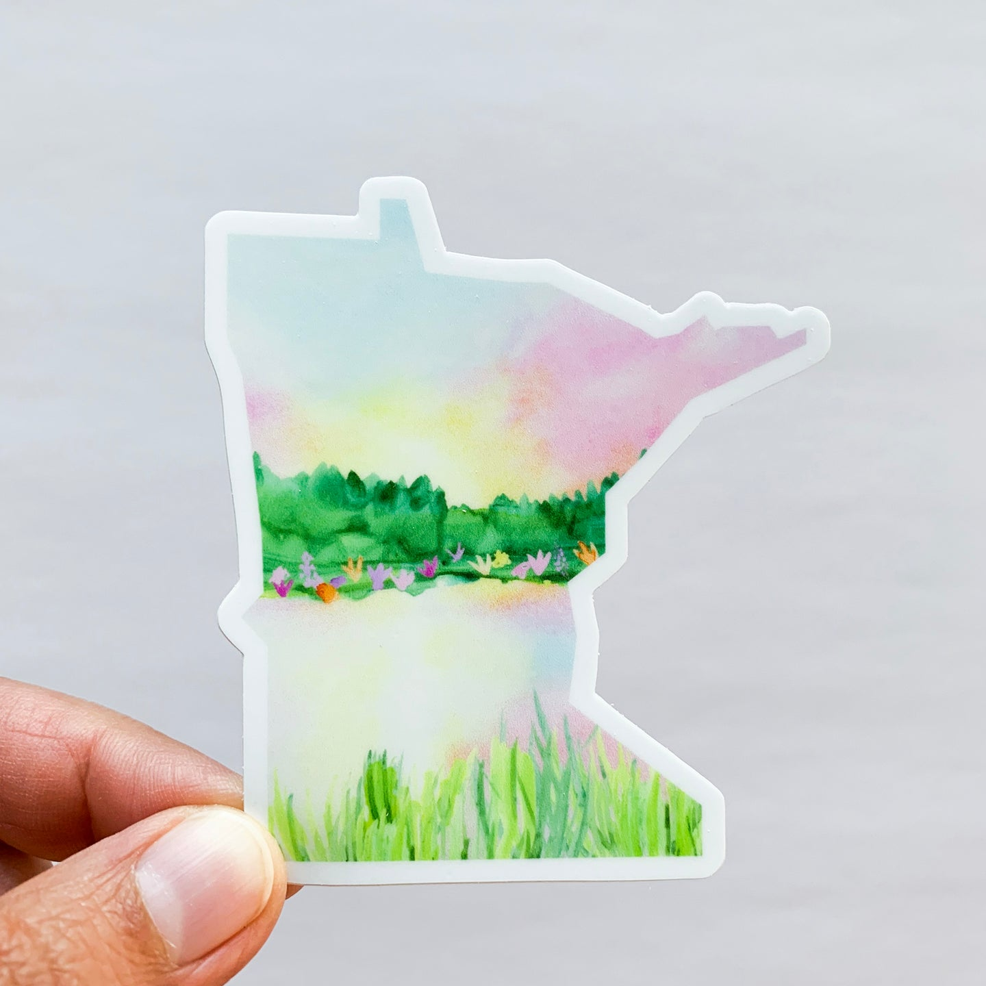 Minnesota State Sunset Sticker Decal