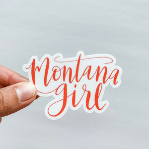 Montana Girl Hand Lettered Bright Coral Sticker Decal