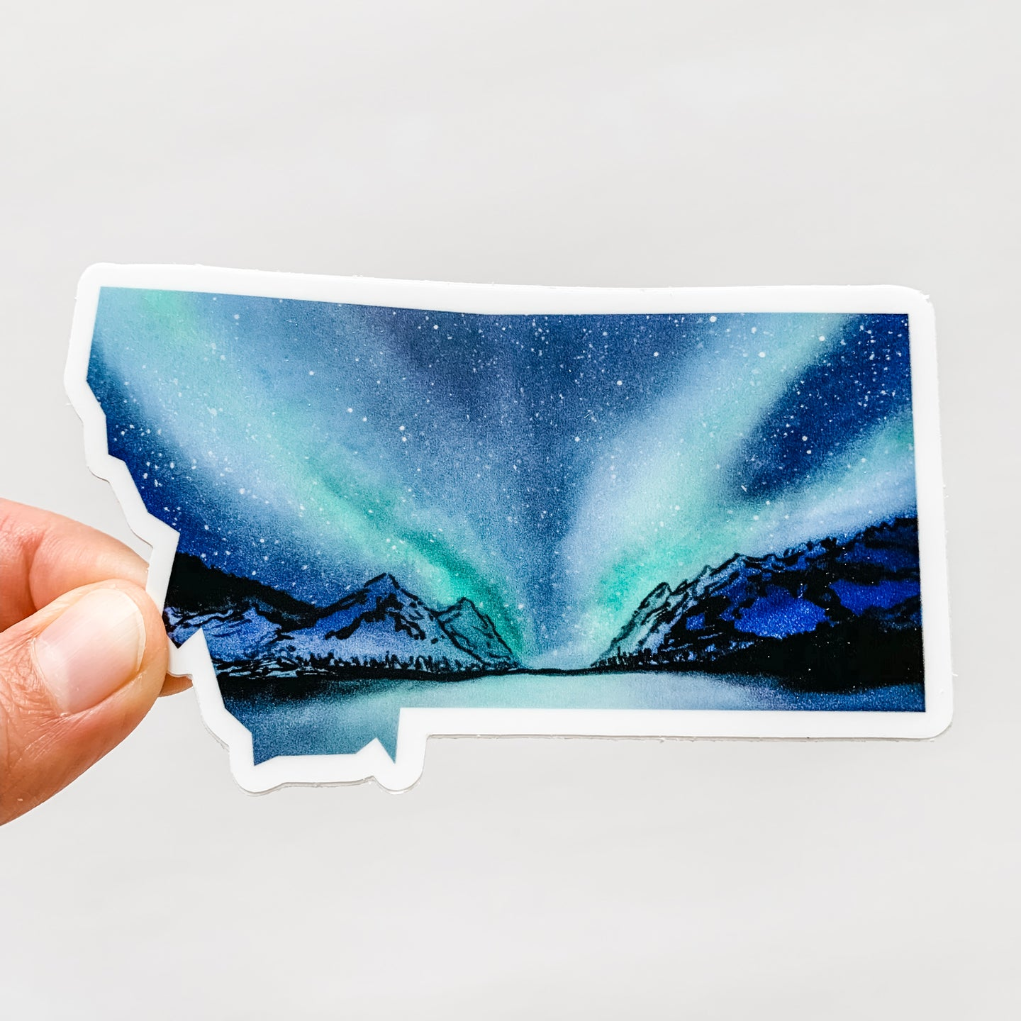 Montana State Northern Lights Decal Sticker