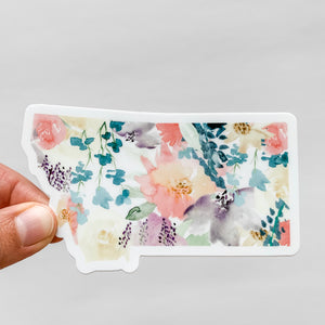 Montana State Watercolor Soft Florals Decal Sticker