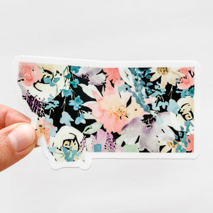 Montana State Watercolor Florals Black Decal Sticker