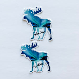 Montana Moose Northern Lights Sticker Decal