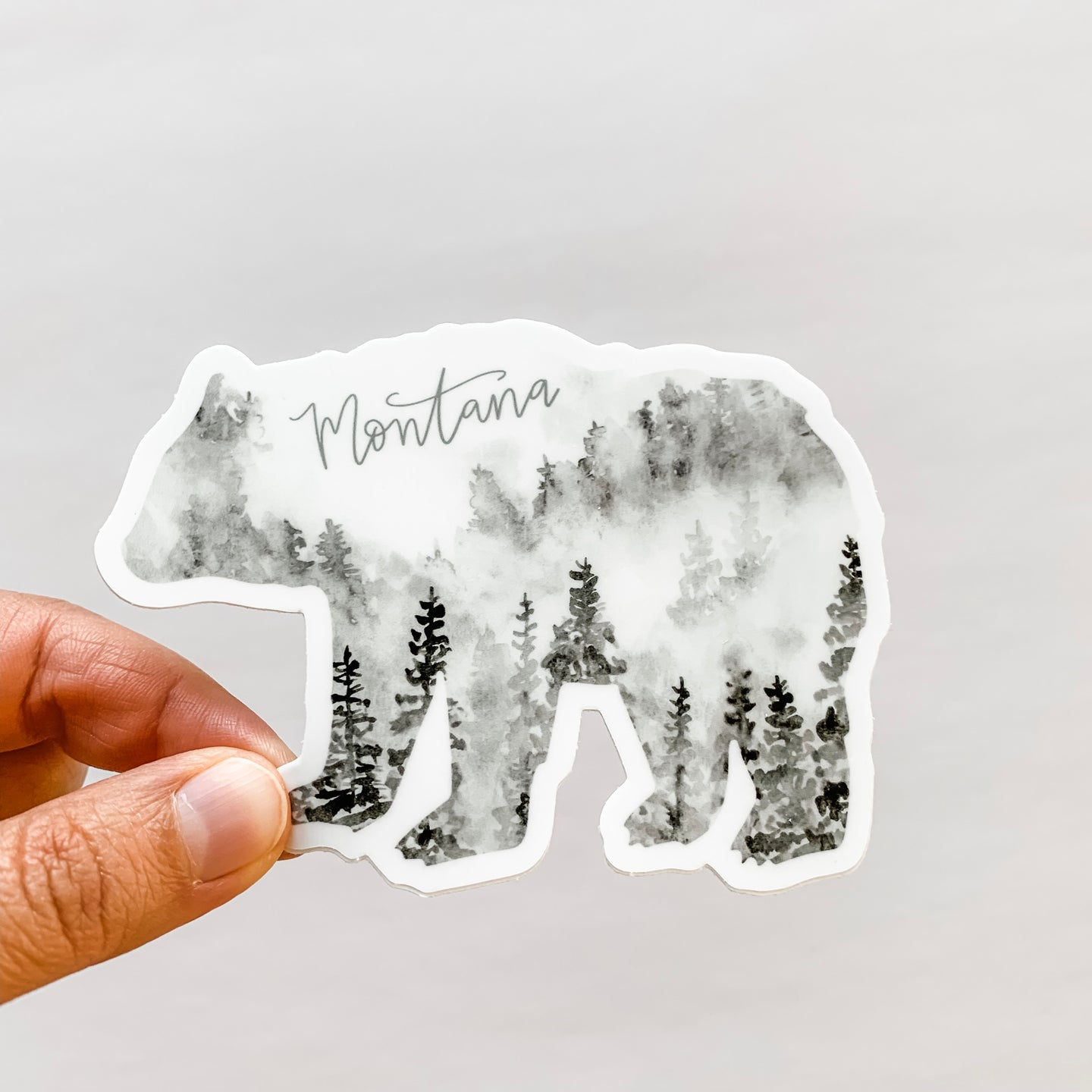 Montana State Forest Bear Black Sticker Decal
