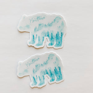 Montana State Forest Bear Turquoise Sticker Decal