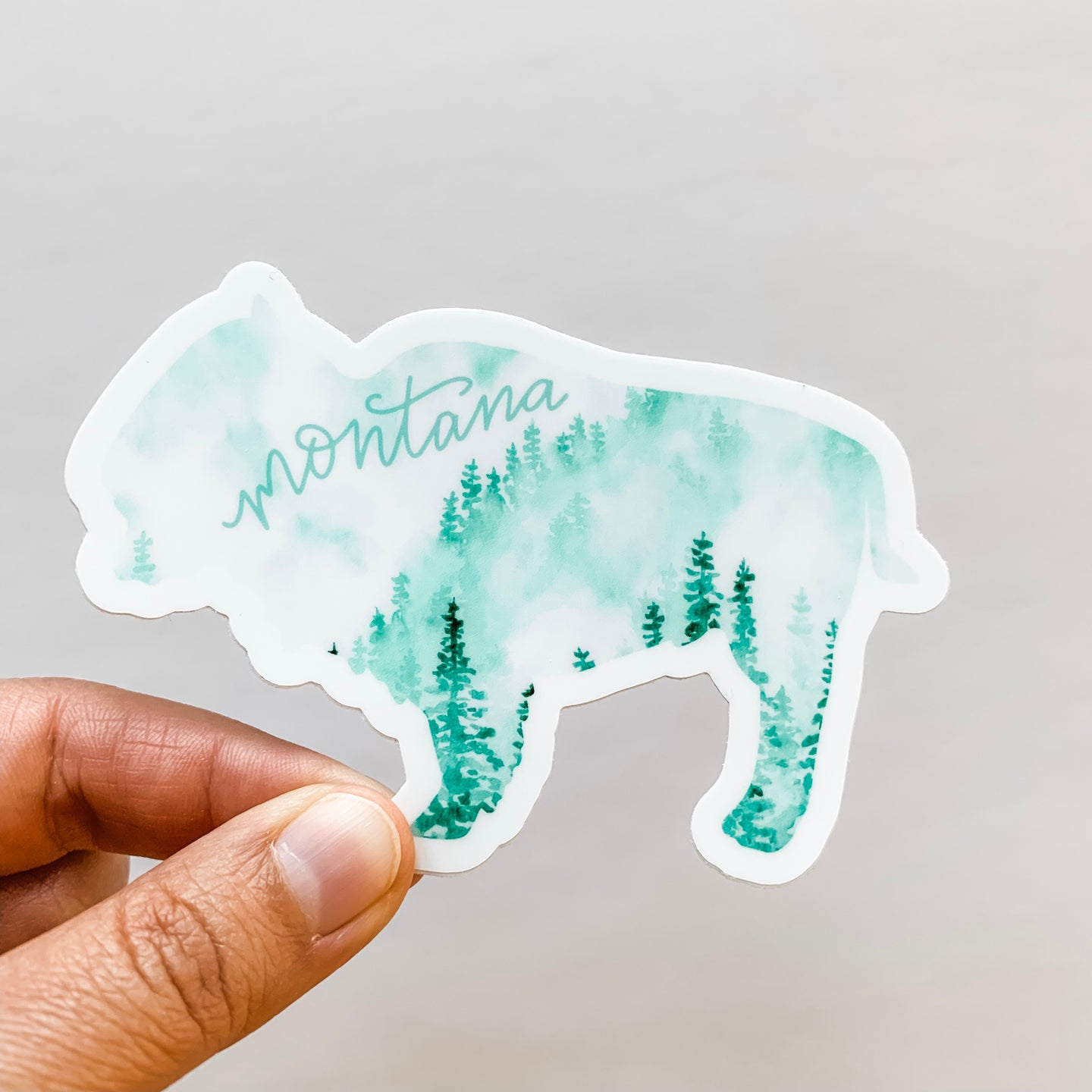Montana State Forest Bison Green Sticker Decal