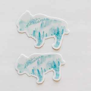 Montana State Forest Bison Turquoise Sticker Decal