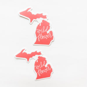 Michigan State Wildflower Coral Sticker Decal