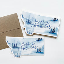 Notecard - Montana State - Watercolor Blue Christmas