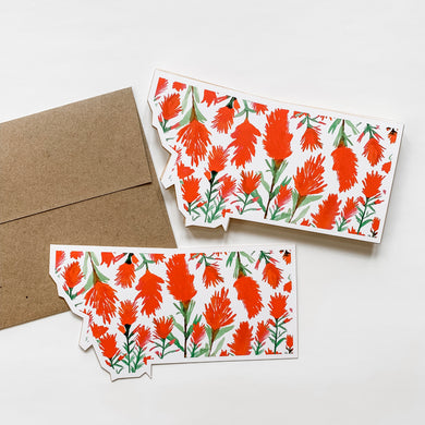 Notecard - Montana State - Watercolor Indian Paintbrush