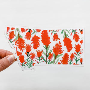 Notecard - Montana State - Watercolor Indian Paintbrush Flower